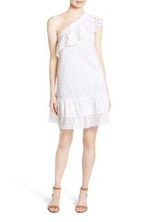 Tory Burch Zoe Eyelet One-Shoulder Dress