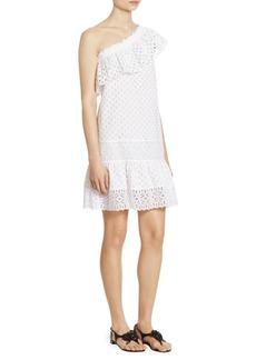 Tory Burch Zoe One-Shoulder Eyelet Cotton Dress
