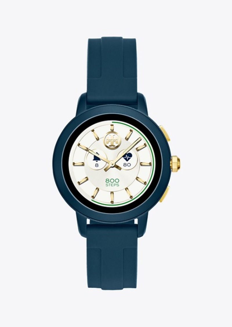 Tory Burch Tory Smartwatch, Navy Silicone/Navy-Tone Aluminum, 42 Mm