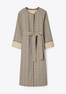 Tory Burch Trapunto Plaid Coat