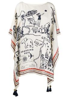 Tory Burch travel print cape dress
