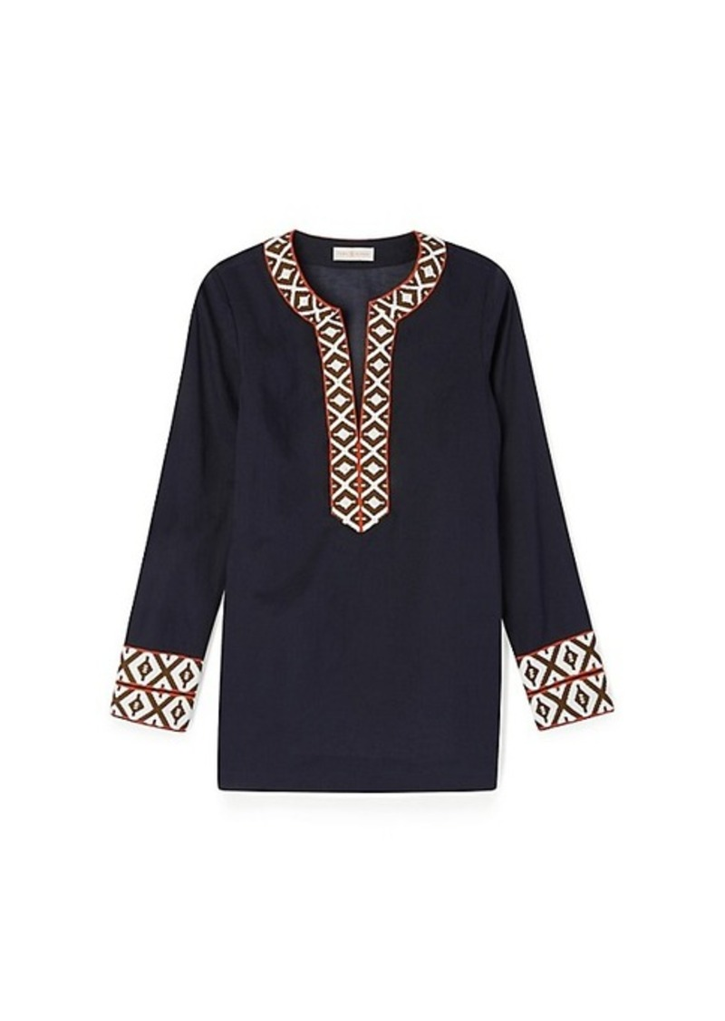tory burch tunic with taping casual shirts shop it to me. Black Bedroom Furniture Sets. Home Design Ideas
