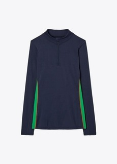 Tory Burch Weightless Contrast-Piped Half-Zip Pullover