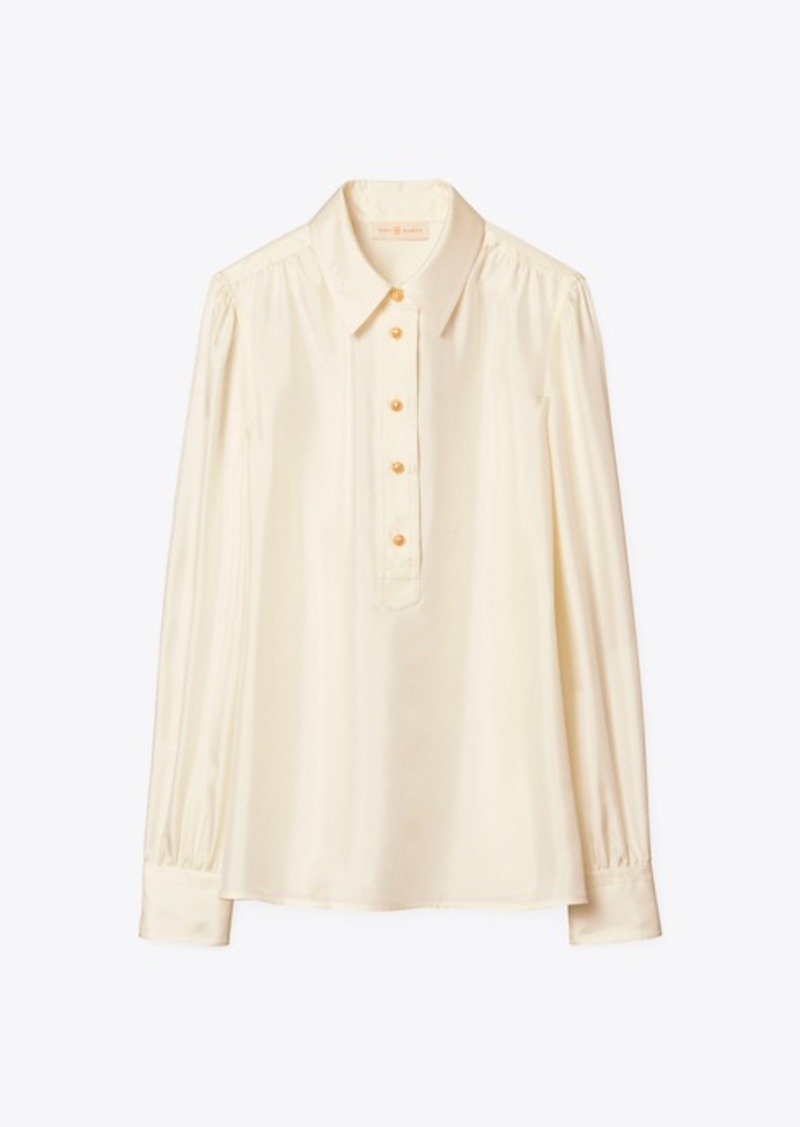 Tory Burch WIDE-COLLAR TUNIC BLOUSE