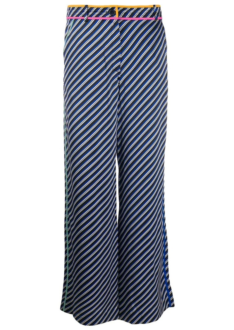 Tory Burch wide leg bias stripe trousers