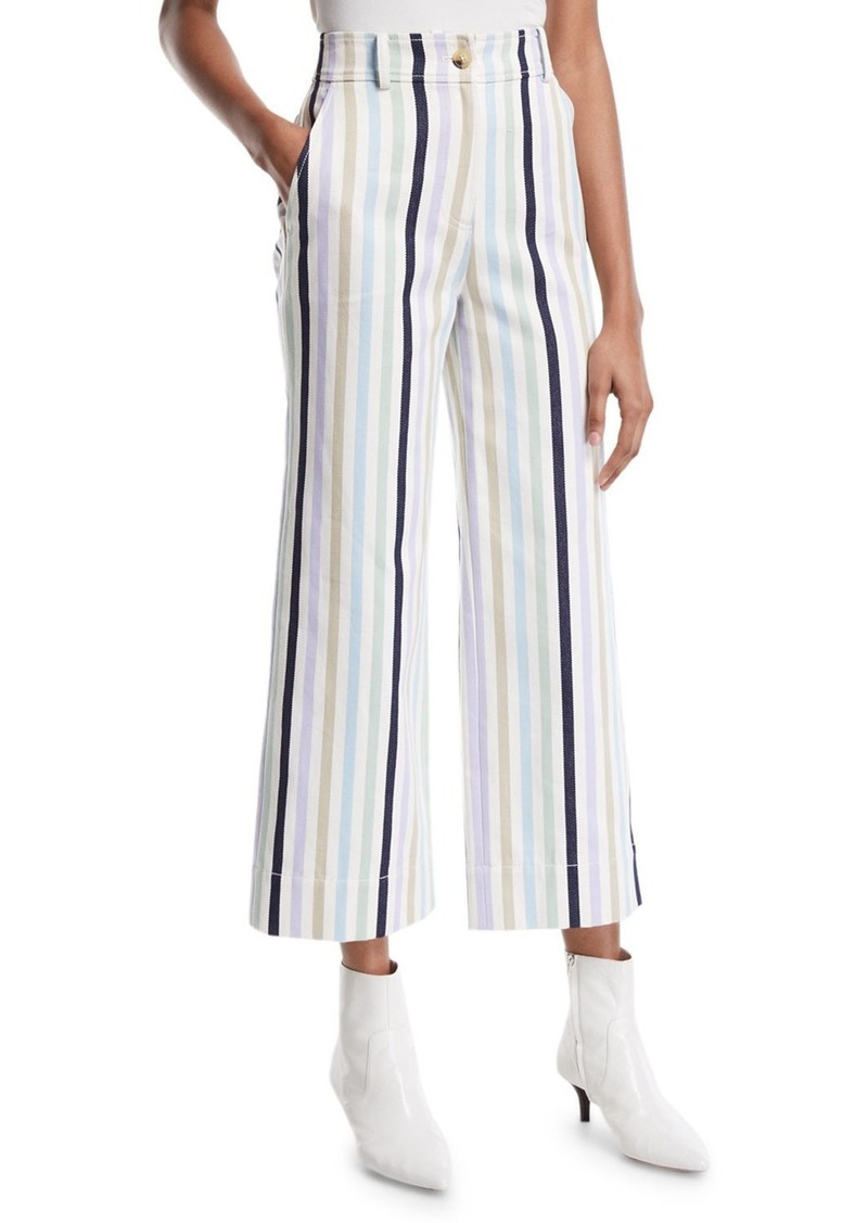 Tory Burch Wide-Leg Cropped Cotton Pants w/ Stripes