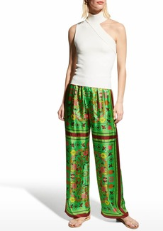 Tory Burch Wide-Leg Silk Scarf-Print Pants