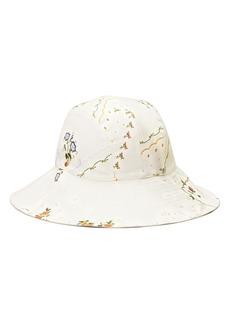 Women's Tory Burch Afternoon Tea Reversible Linen Blend Bucket Hat - Ivory