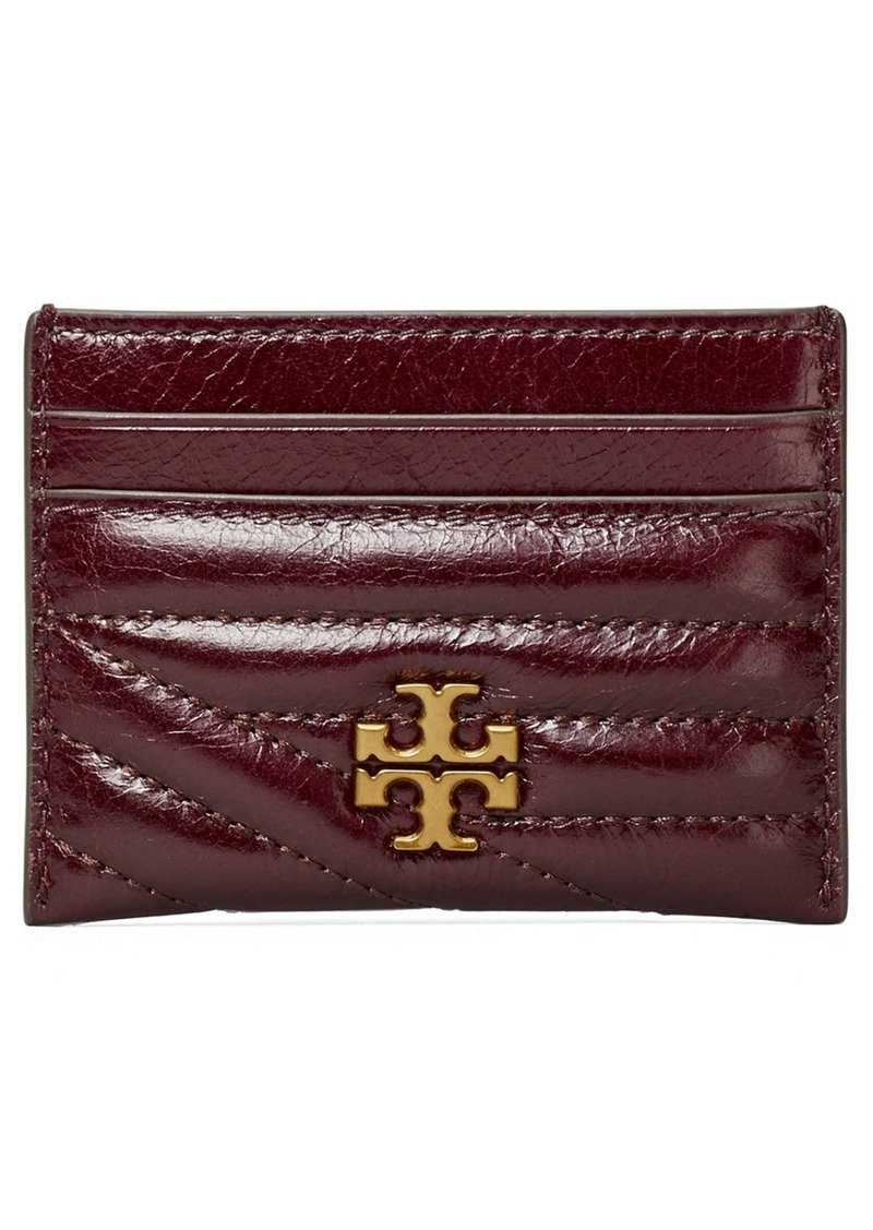 Tory Burch Kira Chevron Glazed Leather Card Case in Fig at Nordstrom