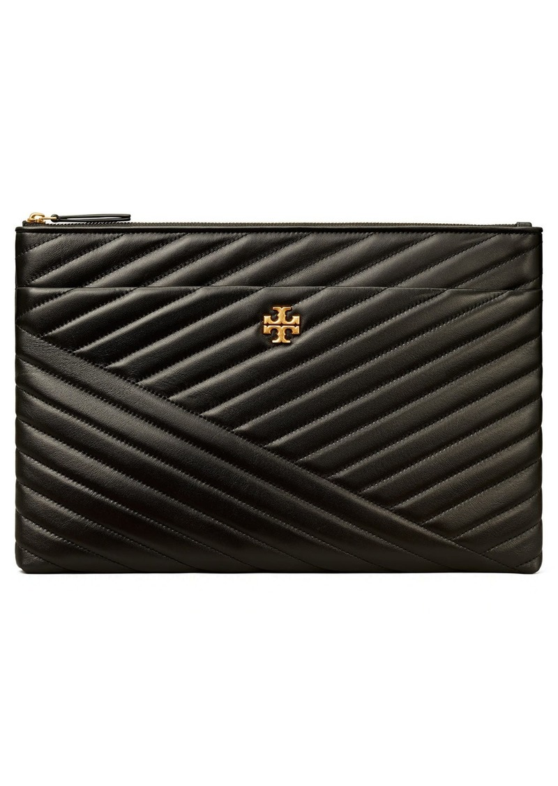 Tory Burch Kira Chevron Large Pouch in Black at Nordstrom