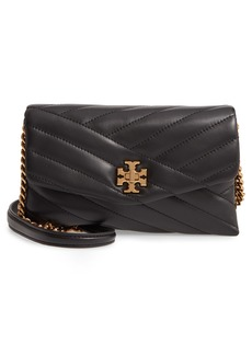 Women's Tory Burch Kira Chevron Quilted Leather Wallet On A Chain - Black