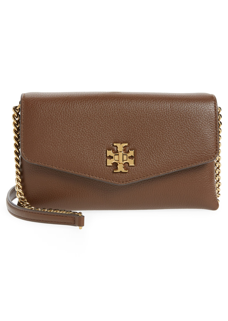 Tory Burch Kira Pebble Leather Wallet on a Chain in Fudge at Nordstrom