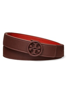 Women's Tory Burch Reversible Tonal Logo Leather Belt