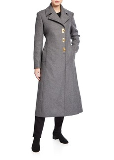 Tory Burch Wool Logo Clasp Long Coat
