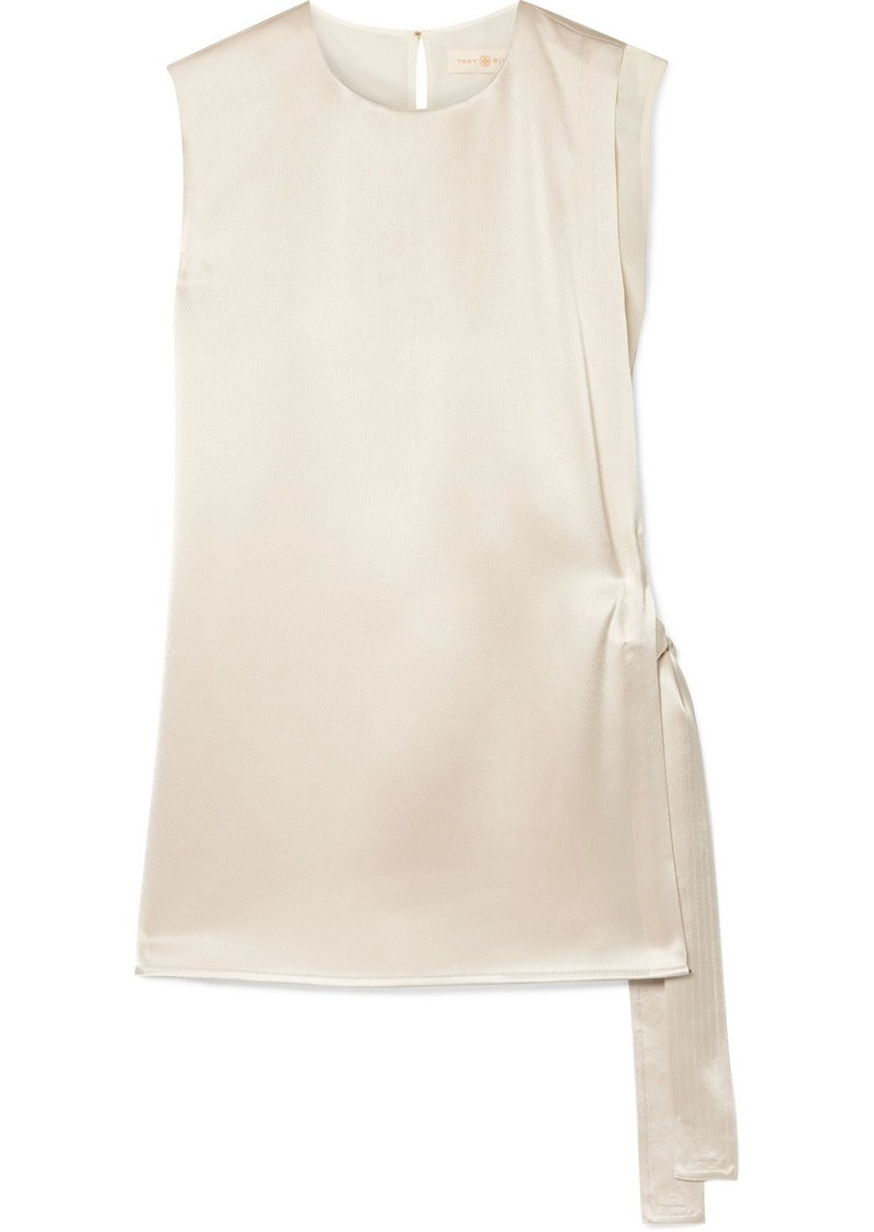 Tory Burch Wrap-effect Hammered-satin And Silk Crepe De Chine Top