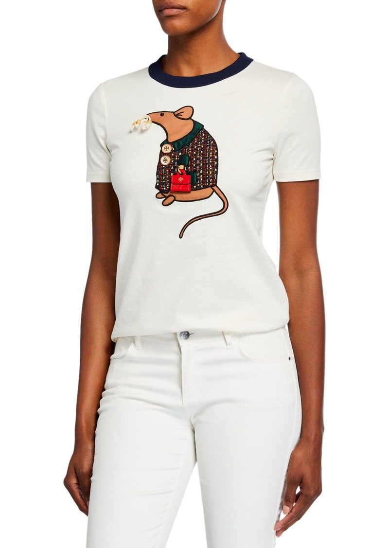 Tory Burch Year Of The Rat Short-Sleeve T-Shirt