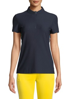 Tory Sport Checkered Mesh Quarter-Zip Fitted Activewear Top