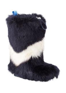 Tory Sport Chevron Faux-Fur Tall Boots