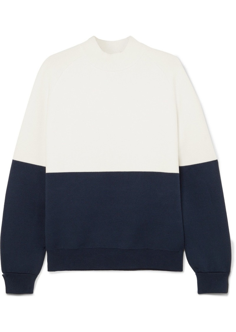 Tory Sport Oversized Two-tone Knitted Sweater