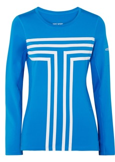 Tory Sport Printed Stretch-jersey And Mesh Top