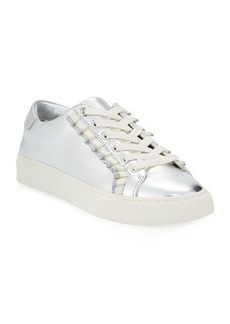 Tory Sport Ruffle Metallic Leather Low-Top Sneakers
