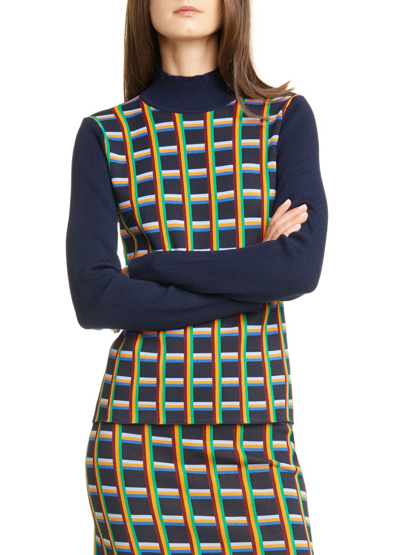 Tory Sport Circuit Plaid Mock Neck Sweater