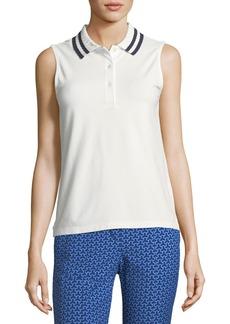 Tory Sport Pleated-Collar Sleeveless Polo Top