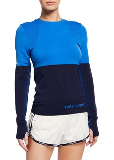 Tory Sport Two-Tone Seamless Long-Sleeve Active Top