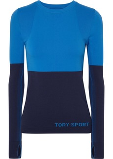Tory Sport Two-tone Stretch-knit Top