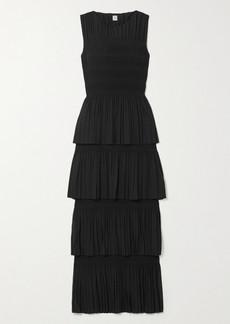 Totême Aramon Tiered Shirred Voile Maxi Dress