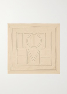 Totême Embroidered Silk-twill Scarf