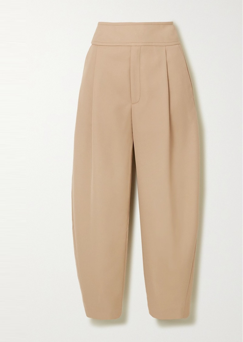 Totême Lombardy Cropped Pleated Grain De Poudre Straight-leg Pants