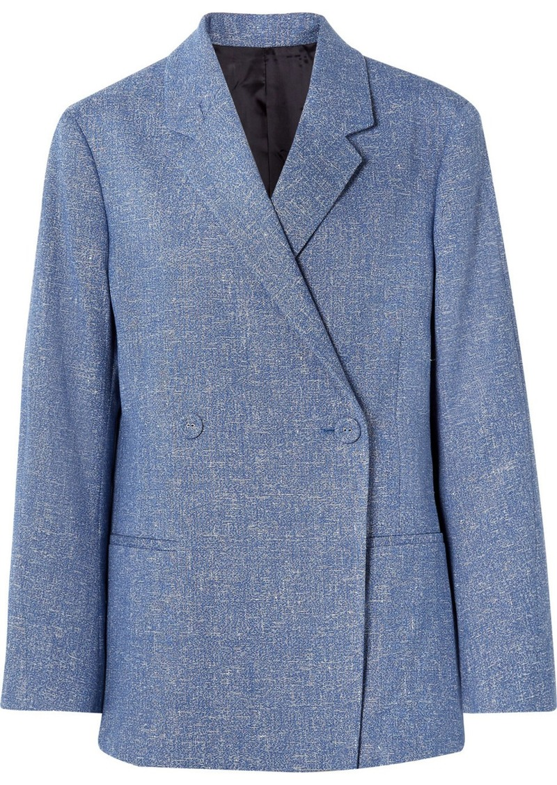 Totême Loreo Oversized Double-breasted Mélange Stretch Cotton And Linen-blend Blazer