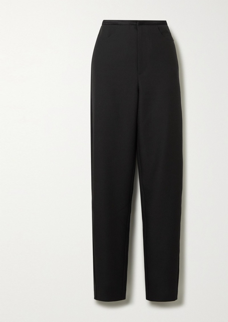 Totême Naves Satin-trimmed Piqué Straight-leg Pants