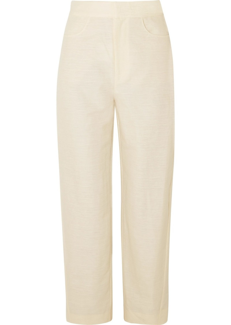 Totême Novara Cotton And Linen-blend Straight-leg Pants