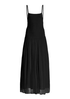 Totême Toteme - Women's Smocked Georgette Maxi Dress - Black/neutral - Moda Operandi