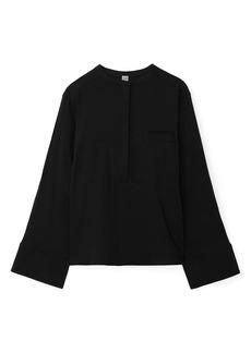 Totême Half Button Linen Blend Shirt