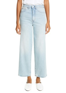 Totême High Waist Flare Crop Jeans (Light Blue)