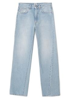 Totême Twisted Seam High Waist Straight Leg Crop Jeans (Washed Blue)