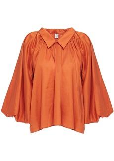 Totême Woman Gathered Woven Blouse Orange