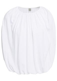 Totême Woman Maida Gathered Stretch-knit Top White