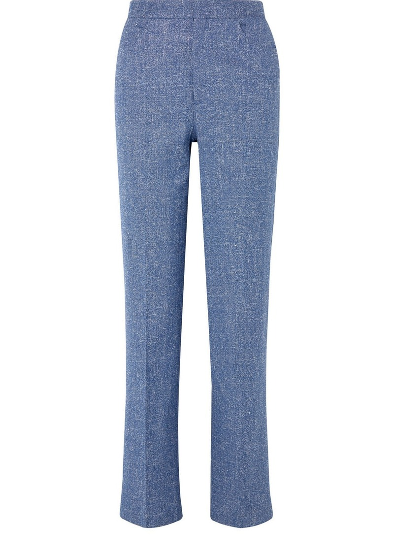 Totême Troia Mélange Stretch Cotton And Linen-blend Straight-leg Pants