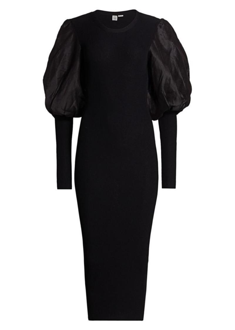 Totême Vignola Puff-Shoulder Midi Dress
