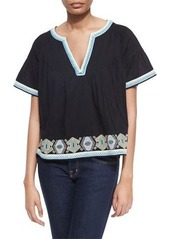 Townsen Hunter Pintucked Cotton Top w/ Embroidery