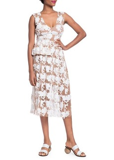 Tracy Reese Floral Embroidery Midi Dress