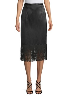 Tracy Reese Fringed Silk Skirt