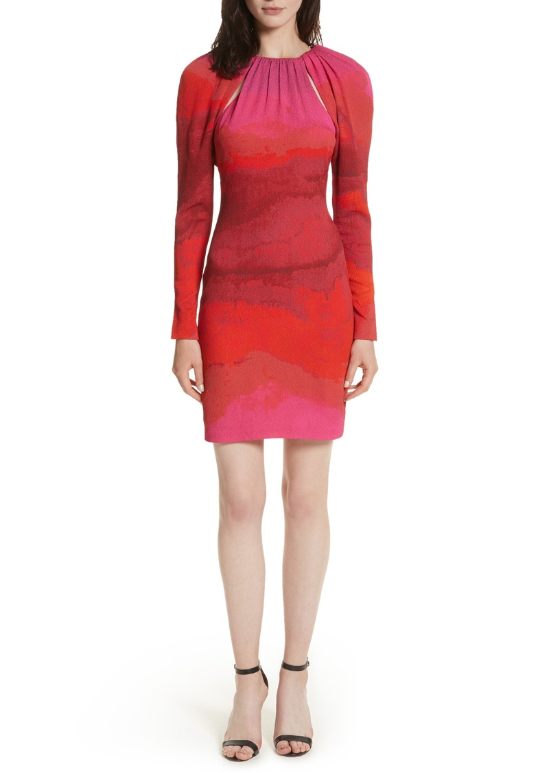 Tracy Reese Abstract Print Stretch Silk Sheath Dress