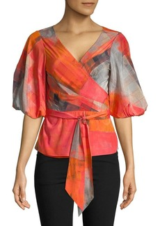 Tracy Reese Abstract-Print Wrap Top