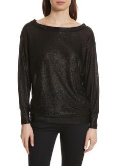 Tracy Reese Bateau Neck Shimmer Sweatshirt