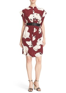 Tracy Reese Belted Floral Print Silk Dress